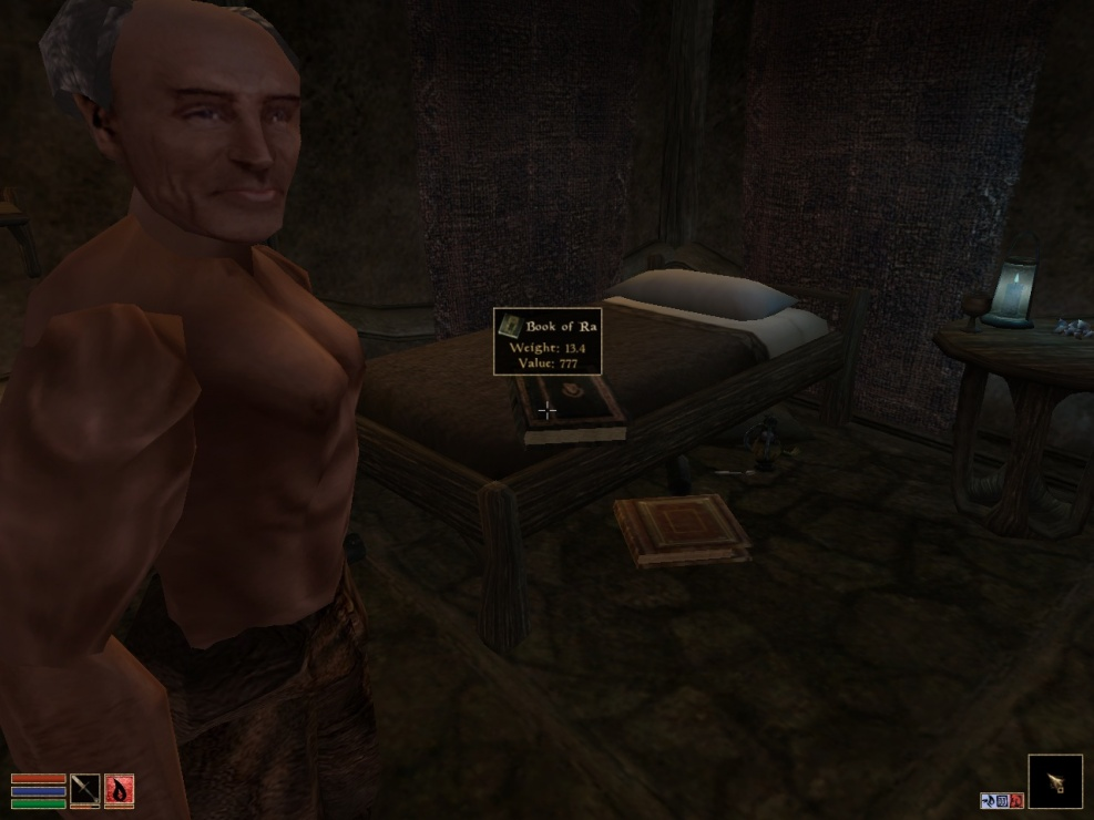 Caius Cosades having a Book of Ra on his bed in Morrowind